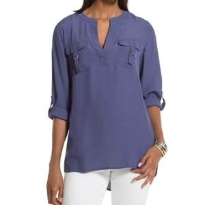 Chico's Utility Vibe Genevieve Blouse Tempest Blue